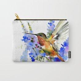 Alen's Hummingbird and Blue Flowers, floral bird design birds, watercolor floral bird art Carry-All Pouch