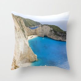 Navagio Beach with Shipwreckon Zakynthos Island, Greece Throw Pillow