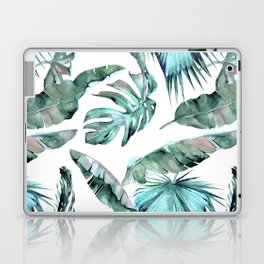 Tropical Palm Leaves Blue Green on White Laptop & iPad Skin