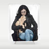 phil jones Shower Curtains featuring JESSICA JONES by zinakorotkova