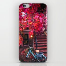 New York City Brooklyn Bicycle and Autumn Foliage iPhone Skin