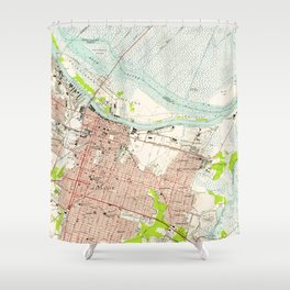 Vintage Map of Savannah Georgia (1955) Shower Curtain