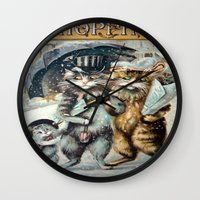 shopping Wall Clocks featuring Shopping by Frankie Cat