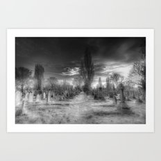 Ghostly Kensal Green Cemetery London Art Print