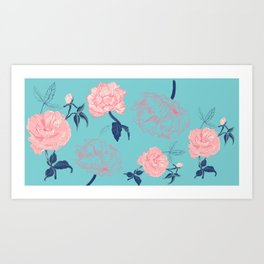 Vintage roses and peonies in bohemian style Art Print