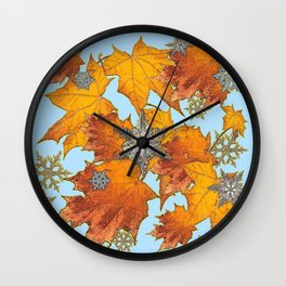 Decorative Blue Winters Snowflakes old Autumn Leaves Art Wall Clock
