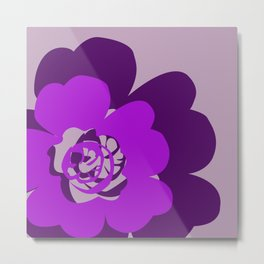 Purple Abstract Flowers Lavender Background Metal Print