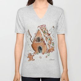 Gingerbread House Unisex V-Neck