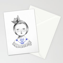 Girl with paper hat and tattoos Stationery Cards