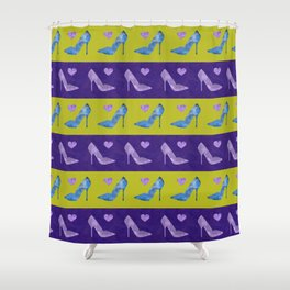 High Heels Patterns watercolor blue, purple and green Shower Curtain