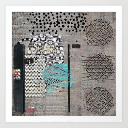 Grey Teal Abstract Art  Art Print