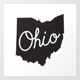 Ohio Typography Map Art Print