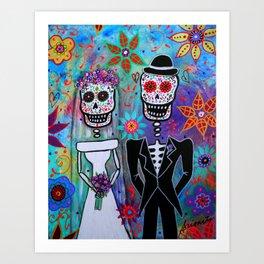 Dia de los Muertos Wedding Couple Painting Art Print