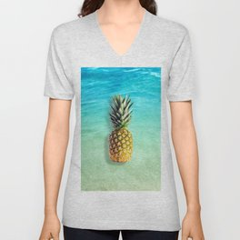 Pineapple at the beach Unisex V-Neck