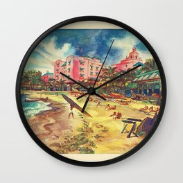 Hawaii's Famous Waikiki Beach - United Air Lines Vintage Travel Poster Wall Clock