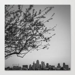 Downtown Kansas City Skyline Below Spring Tree - Black and White Canvas Print