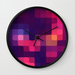 Retro Pink/Purple Squares Wall Clock
