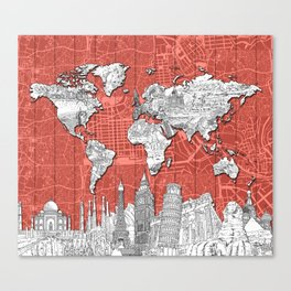 world map city skyline 9 Canvas Print