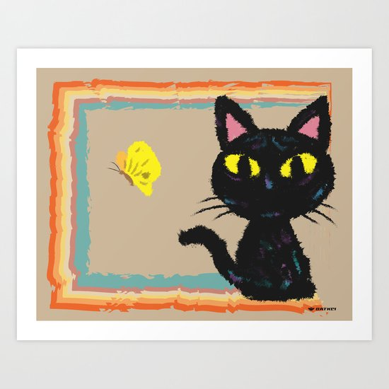 Butterfly and Cat Art Print