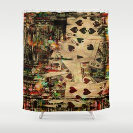 Abstract Vintage Playing cards  Digital Art Shower Curtain