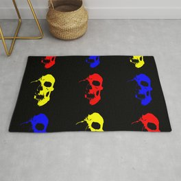 Skull 3x3 - Red/Blue/Yellow Rug