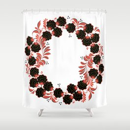 Black berry khokhloma Shower Curtain