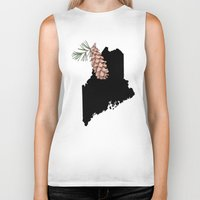 maine Biker Tanks featuring Maine Silhouette by Ursula Rodgers