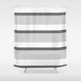 Strips - white and gray. Shower Curtain