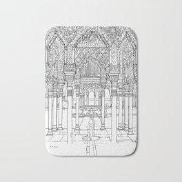 Alhambra palace, Granada, Andalucia - Spain-Black & White Bath Mat