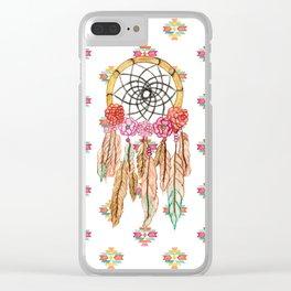 Boho Aztec Watercolor Native American Dreamcatcher Clear iPhone Case