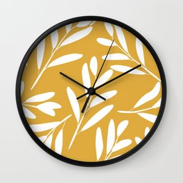 Prints of Leaves, White on Yellow, Minimalist Prints Wall Clock