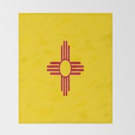 flag new mexico-usa,america,sun,Zia Sun symbol,New Mexican,Albuquerque,Las Cruces,santa fe,roswell Throw Blanket