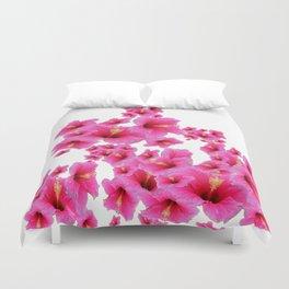 MODERN ART TROPICAL FUCHSIA HIBISCUS  FLOWERS Duvet Cover