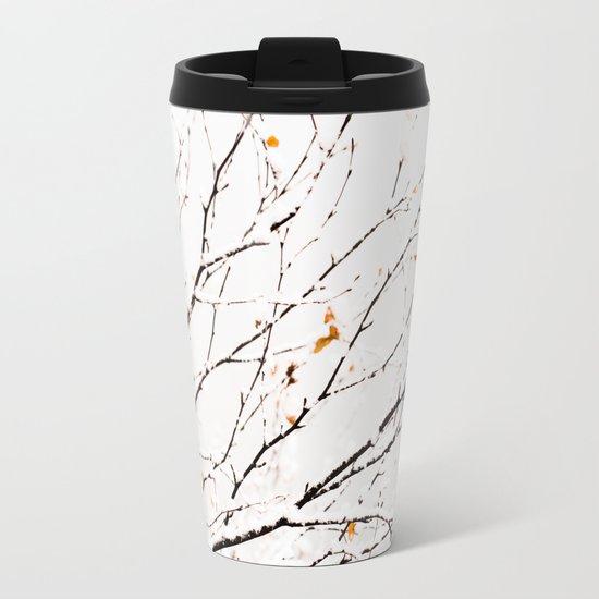 Snowy birch twigs and leaves Metal Travel Mug
