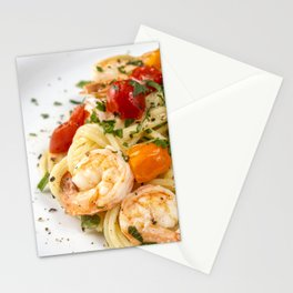 Spaghetti pasta with prawns Stationery Cards