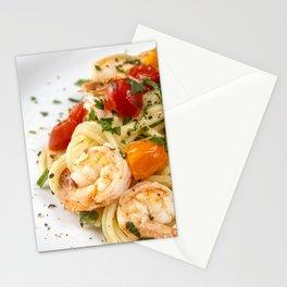 Spaghetti pasta with prawns Stationery Cards