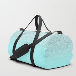 Elegant Chic Mint Blue Gradient Glitter Duffle Bag