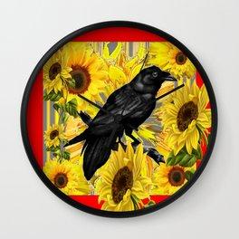 RAVEN & SUNFLOWERS FIELDS  RED ART Wall Clock
