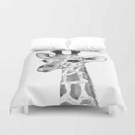 baby giraffe, black and white Duvet Cover