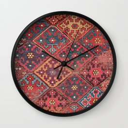 Rosette Diamond Stars II // 19th Century Colorful Red Black Dusty Blue Space Ornate Accent Pattern Wall Clock
