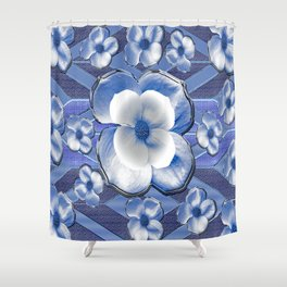 Blue Dogwood Flowers Shower Curtain