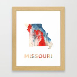 Missouri map outline Red Blue nebulous watercolor Framed Art Print