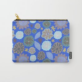 Bright Sky Blue Pods & Flowers Carry-All Pouch