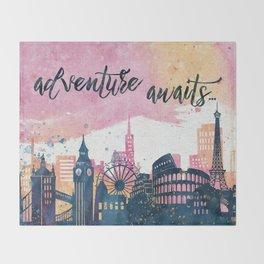 Adventure Awaits Watercolor Throw Blanket
