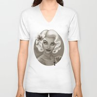 silent V-neck T-shirts featuring Silent Stargazer by Wendy Stephens