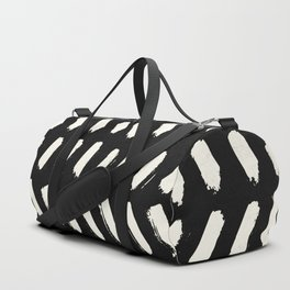 Tribal Dance Dot - Ivory on Black Duffle Bag