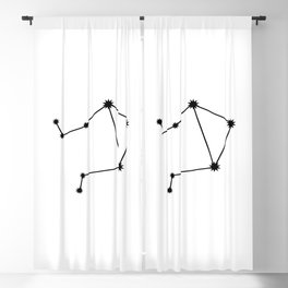Libra Star Sign Black & White Blackout Curtain