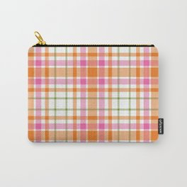 Summer Plaid Pink Orange Green White Carry-All Pouch