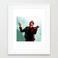 u2 Framed Art Prints featuring U2 / Bono 2 by JR van Kampen