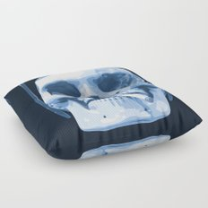 Skull Smoking Cigarette Blue Floor Pillow